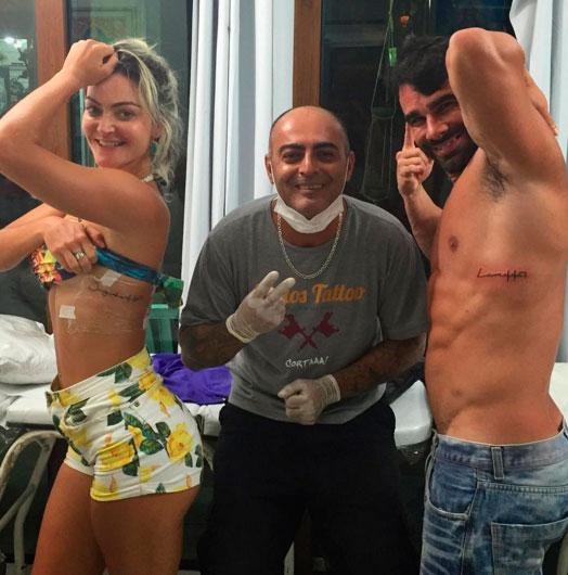 Laura Keller e o maridão fazem tatuagem juntinhos. Veja!