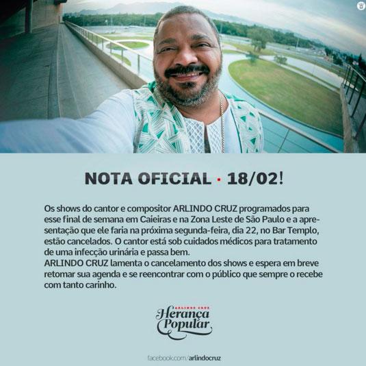 Com infecção urinária, Arlindo Cruz cancela shows