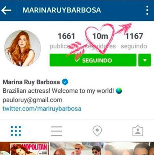 Marina Ruy chega a 10 milhões de seguidores no Instagram