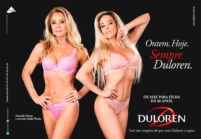 Danielle Winits e sua mãe, Nadja, posam de lingerie
