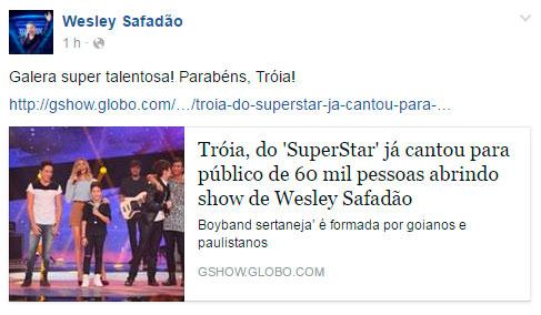 Grupo Tróia ganha elogios de Wesley Safadão por Superstar
