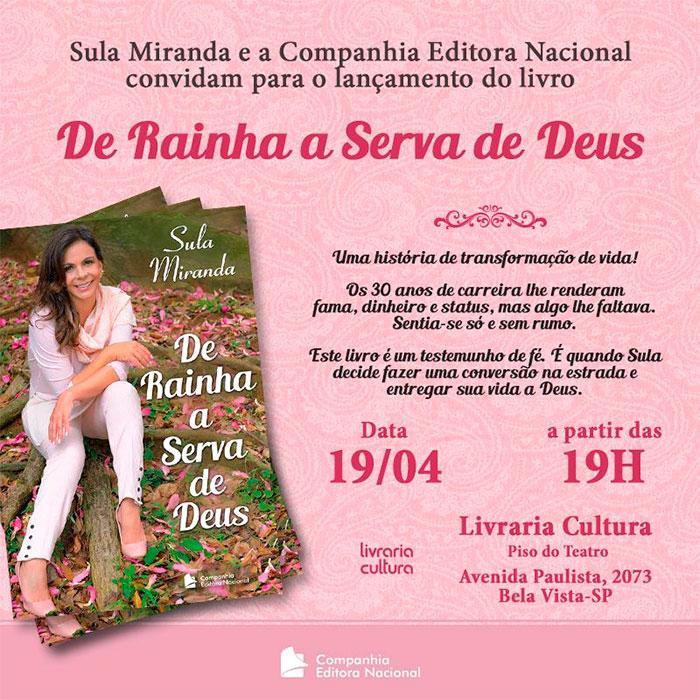 Sula Miranda lança seu primeiro livro nesta terça-feira