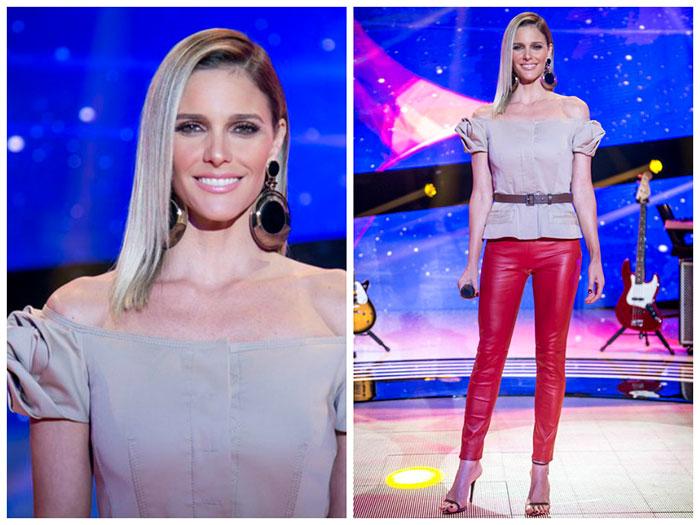 Com ombros à mostra, Fernanda Lima é puro charme na TV