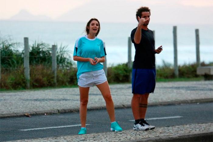Rafa Brites e Felipe Andreoli correm juntos pela orla do Rio