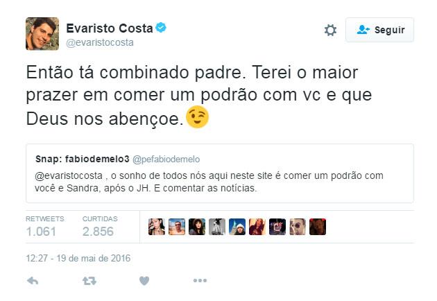 Padre Fábio de Melo chama Evaristo Costa para comer 'podrão'