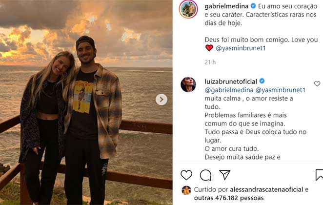 Luiza Brunet comenta em declaração de amor de Gabriel Medina