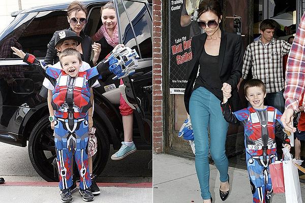 Filho dos Beckham se fantasia de robô em festa de aniversário