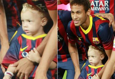 Neymar entra em campo com o filho, Davi Lucca - Grosby Group
