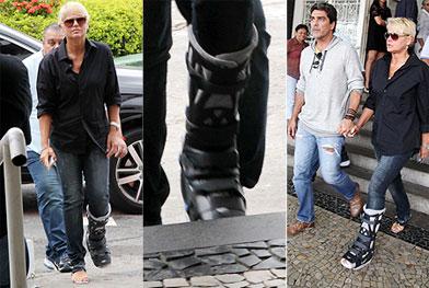 Com o pé imobilizado, Xuxa vai ao enterro do pai de Cazuza - Claudio Andrade/Foto Rio News