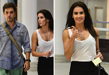 Acompanhada pelo namorado, Deborah Secco é vista no aeroporto Santos Dummont - AgNews