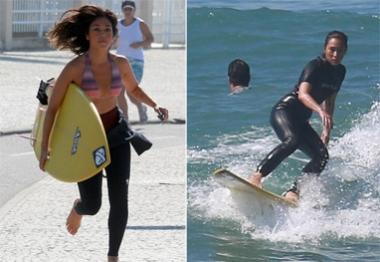 Dani Suzuki passa a manhã deslizando sobre as ondas