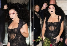 No clima do Halloween, Lady Gaga aparece com look gótico em Londres -