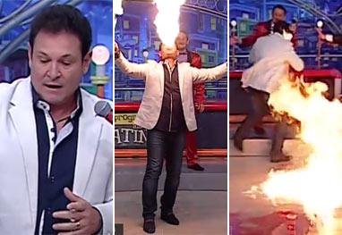 Susto! Luís Ricardo se queima ao vivo durante Programa do Ratinho - Reprodução/SBT