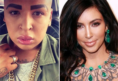 Homem gasta R$ 400 mil para 'tentar' se parecer com Kim Kardashian - Reprodução