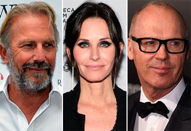 Revista revela triângulo amoroso entre Kevin Costner, Michael Keaton e Courteney Cox - Getty Images