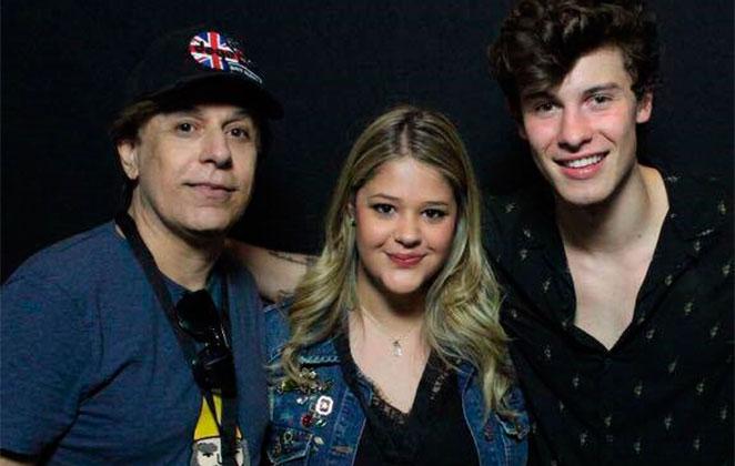 Filha de Tom Cavalcante conhece Shawn Mendes e grava tudo