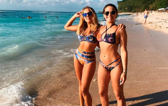 Isabella Santoni e Gabi Lopes exibem boa forma em Bali