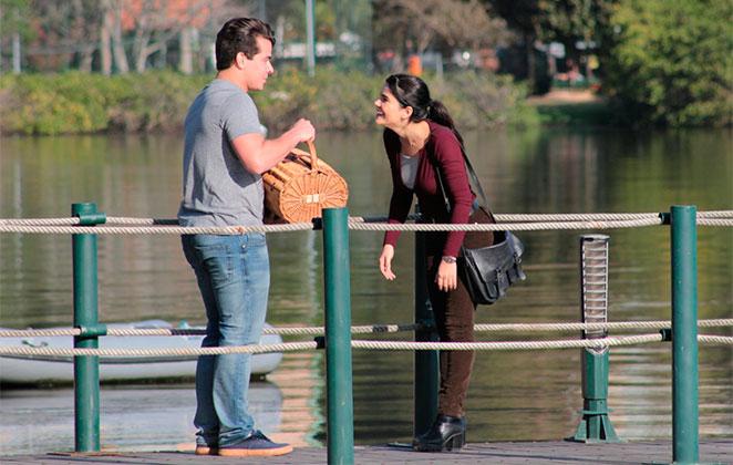 Thiago Martins e Vanessa Giácomo gravam novela na Lagoa