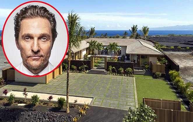 fotomontagem da mansão de Matthew McConaughey com foto de rosto dele no canto esquerdo