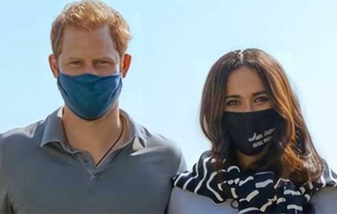 Duques de Sussex usam máscara durante evento