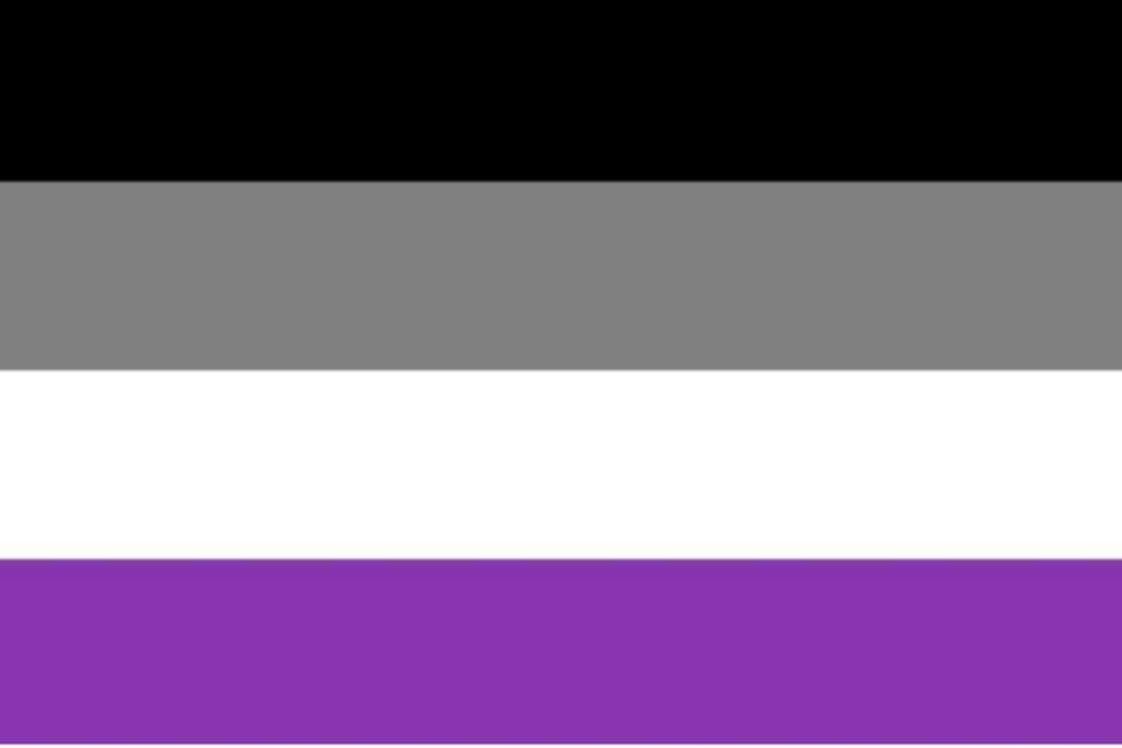 Imagem da bandeira assexual nas cores preta, cinza, branca e roxa