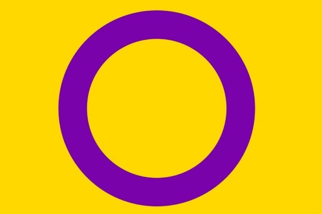 Imagem da bandeira pansexual formada pela cor amarela e um círculo roco no meio