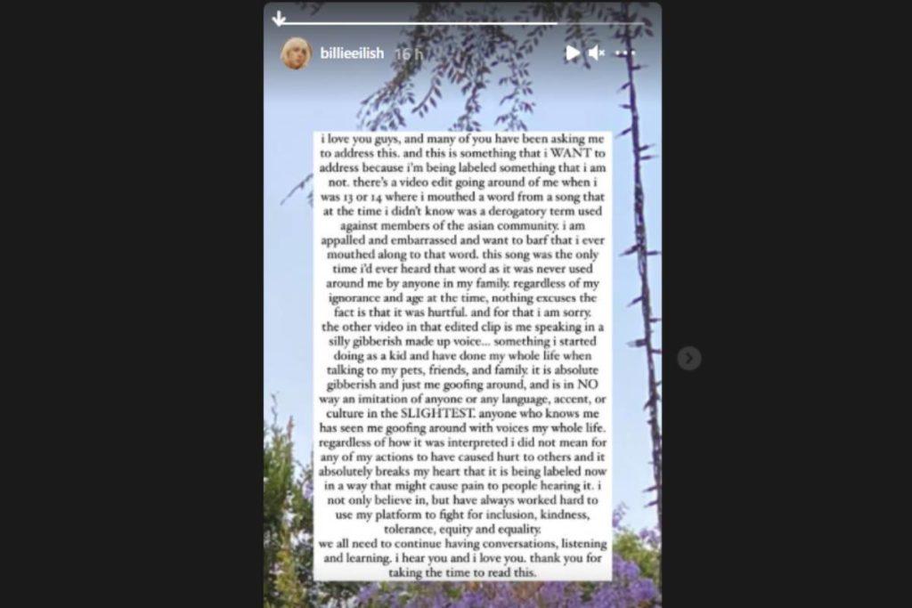 stories de billie eilish se pronunciando sobre acusações de racismo após viralização de vídeos antigos no tiktok