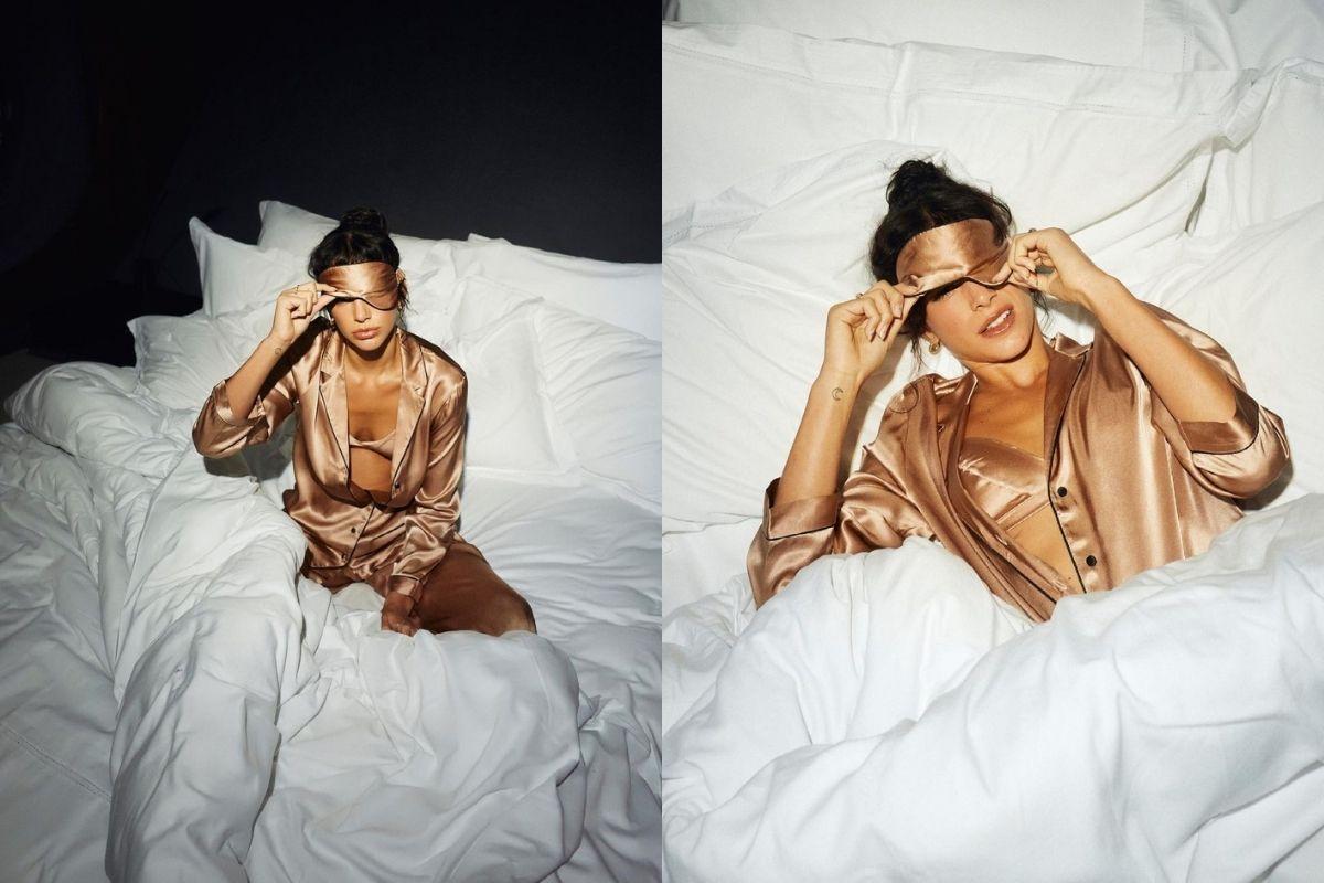 Fotomontagem de Bruna Marquezine deitada em uma cama para a campanha de grife italiana de lingerie