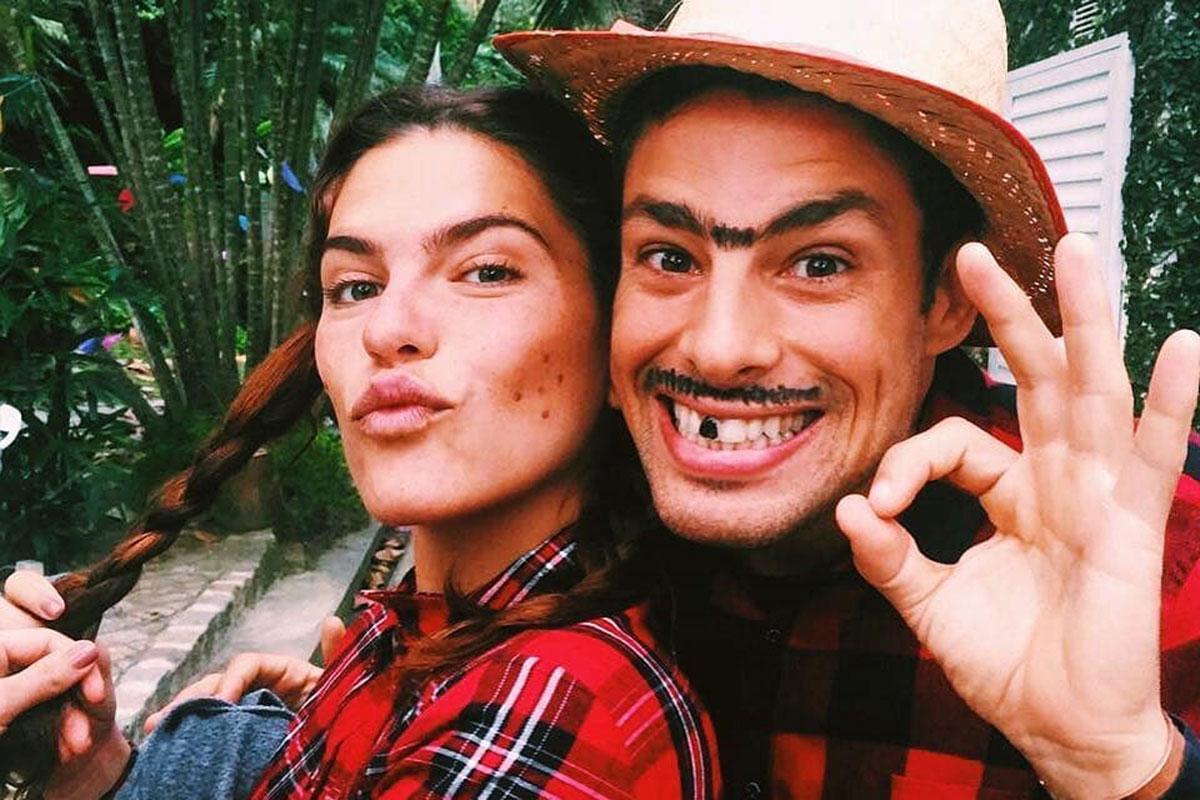 Cauã Reymond e Mariana Goldfarb em clima de festa junina