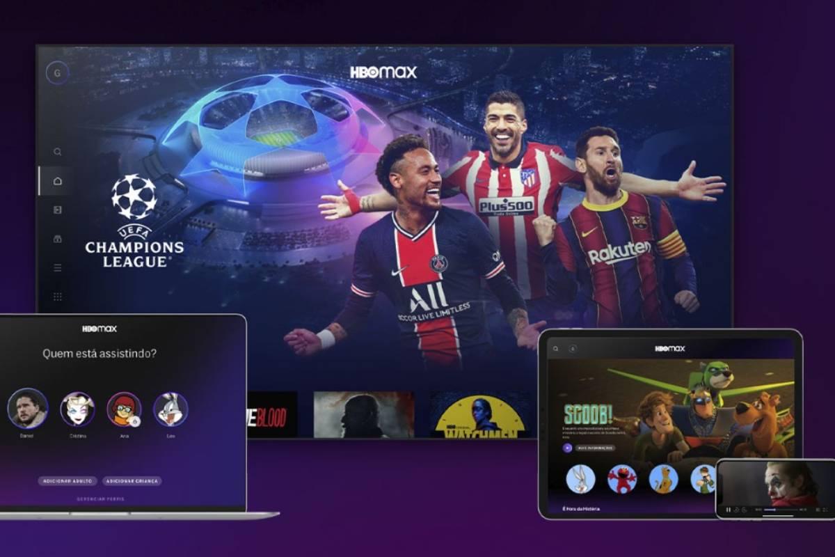televisão, notebook, celular e tablet exibindo conteúdo da hbo max