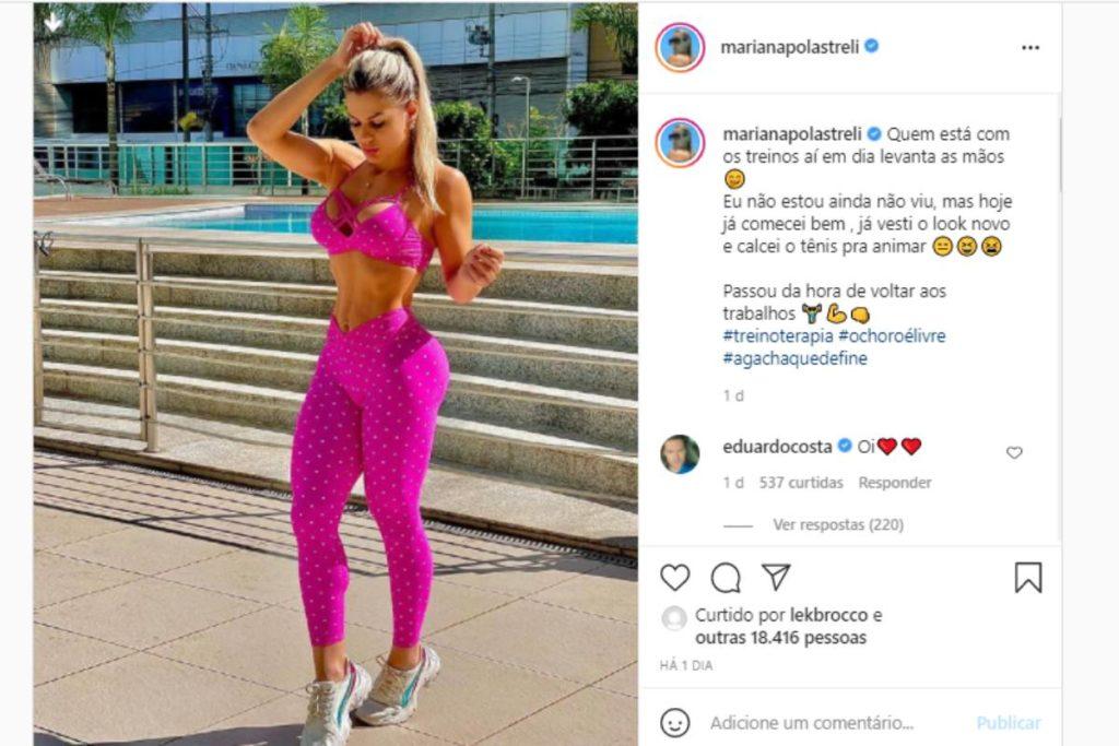 eduardo costa comentando publicação de mariana polastreli sobre malhação com emoji de coração