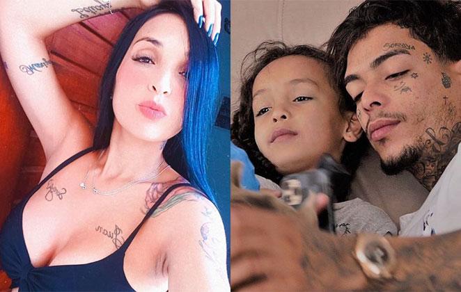 Evelin Gusmão e MC Kevin com a filha Soraya