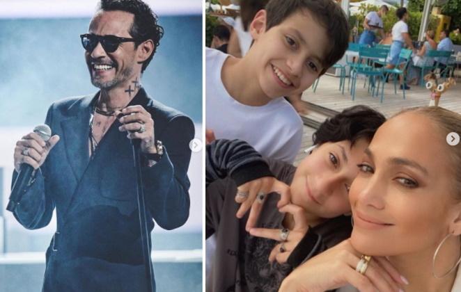 Fotomontagem Marc Anthony no palco e Jennifer Lopez com os filhos
