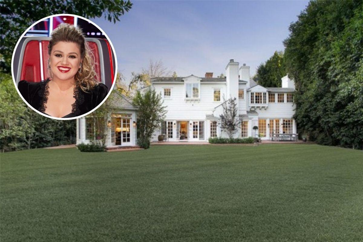 Fotomontagem com Kelly Clarkson e a mansão que comprou