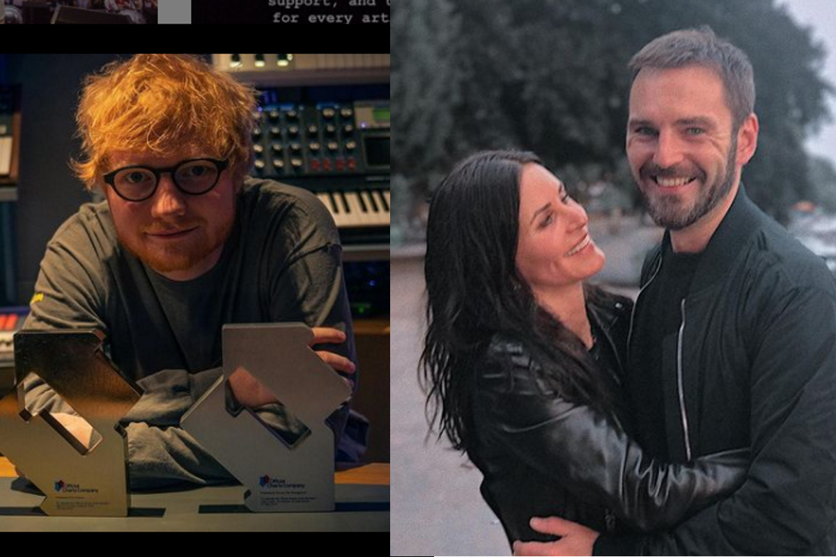 Fotomontagem Ed Sheeran com Courtney Cox e marido