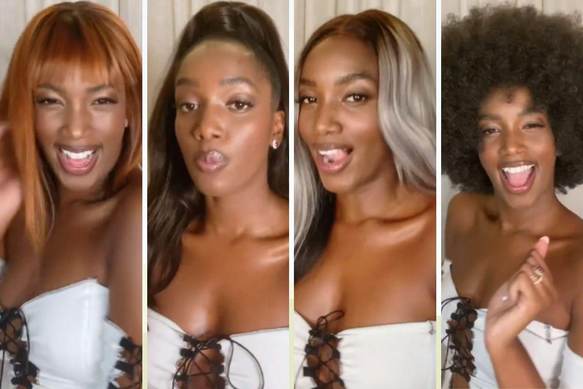 Iza usa várias perucas montagem