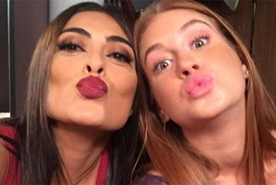 Juliana Paes e Marina Ruy Barbosa fazem biquinho