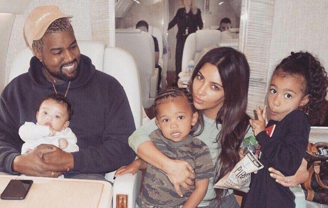 Kenye West, Kim Kardashian e filhos