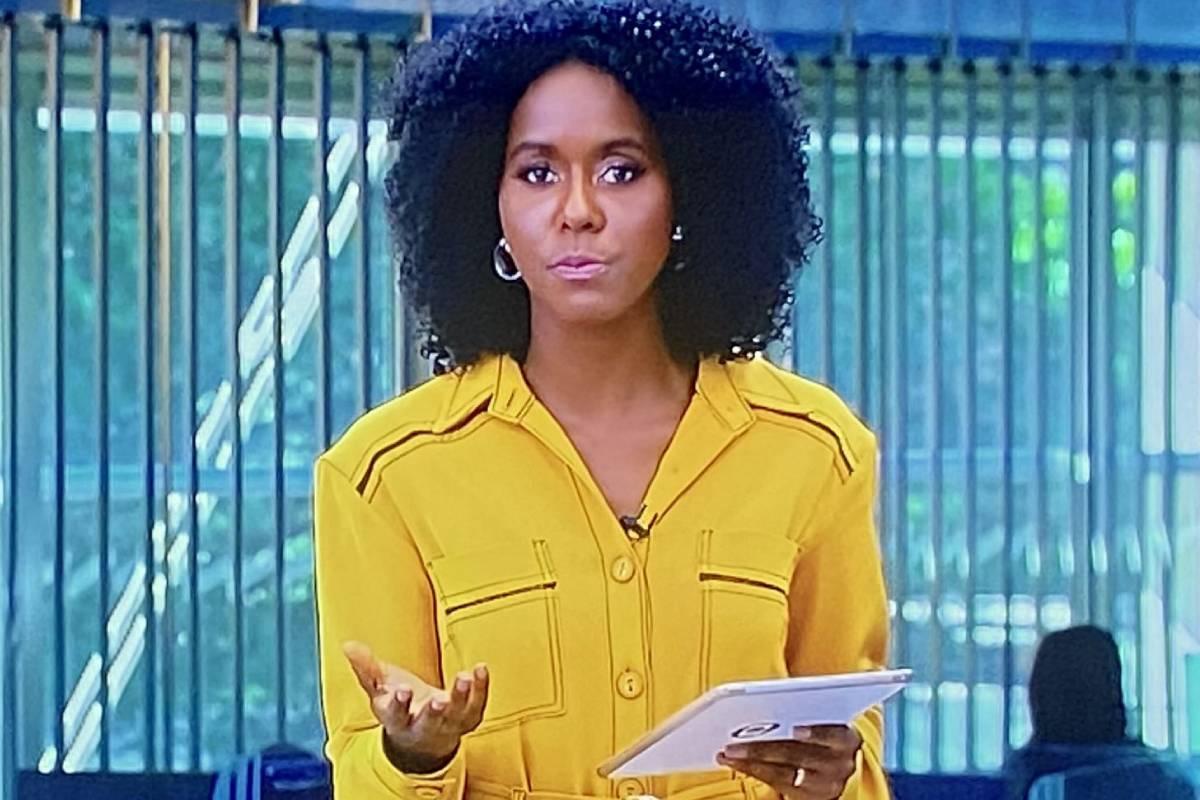 maju coutinho apresentando jornal hoje de de macacão amarelo