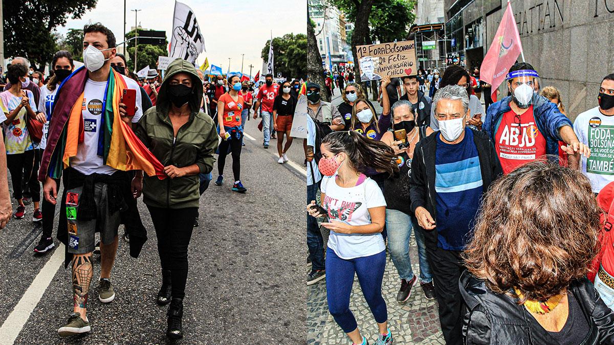 Samantha Schmütz e Chico Buarque participam de ato anti Bolsonaro