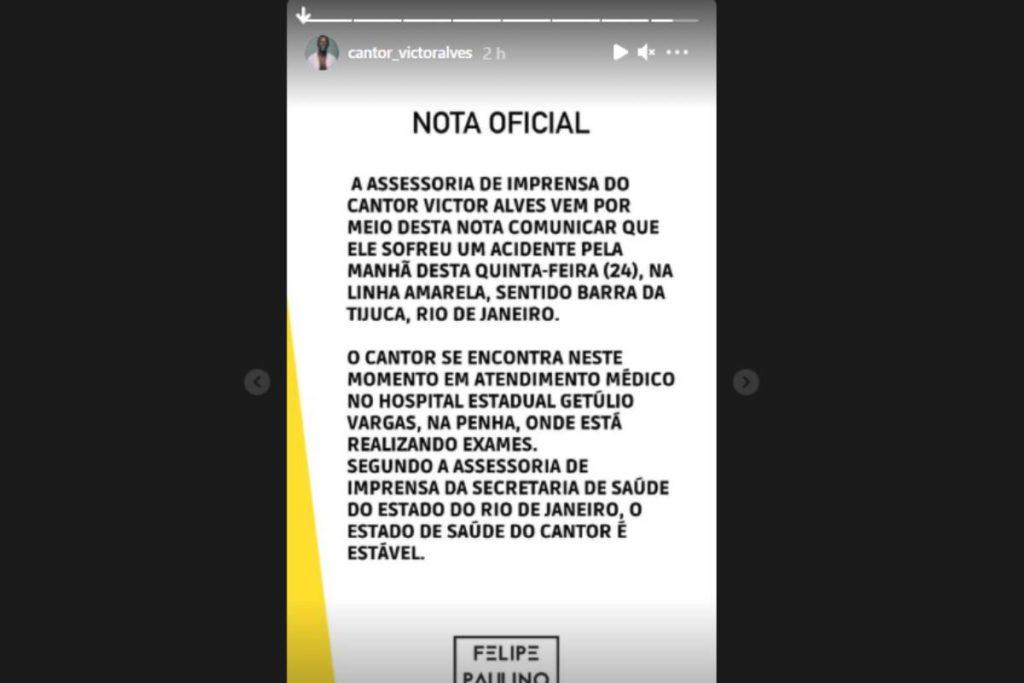 stories de victor alves, campeão do The Voice Brasil 2020, revelando acidente no Rio