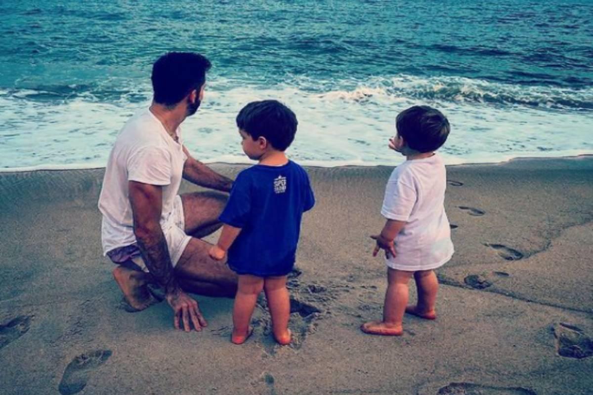 thales bretas com os filhos gael e romeu na praia