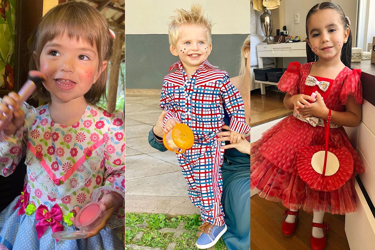 Zoe, Enrico e Maria Flor vestidos para Festa Junina