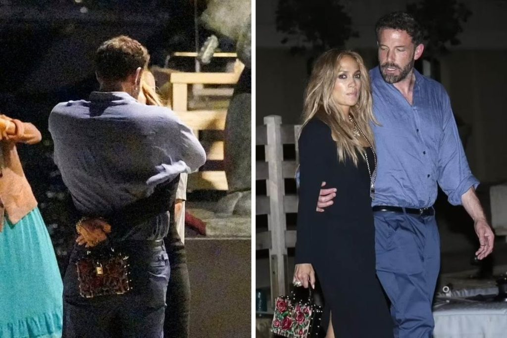 Ben Affleck e Jennifer Lopez a caminho do restaurante L'Opera em Saint-Tropez