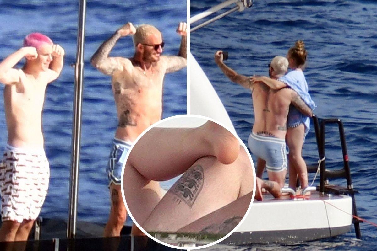 David Beckham mostra nova tatuagem durante passeio de iate