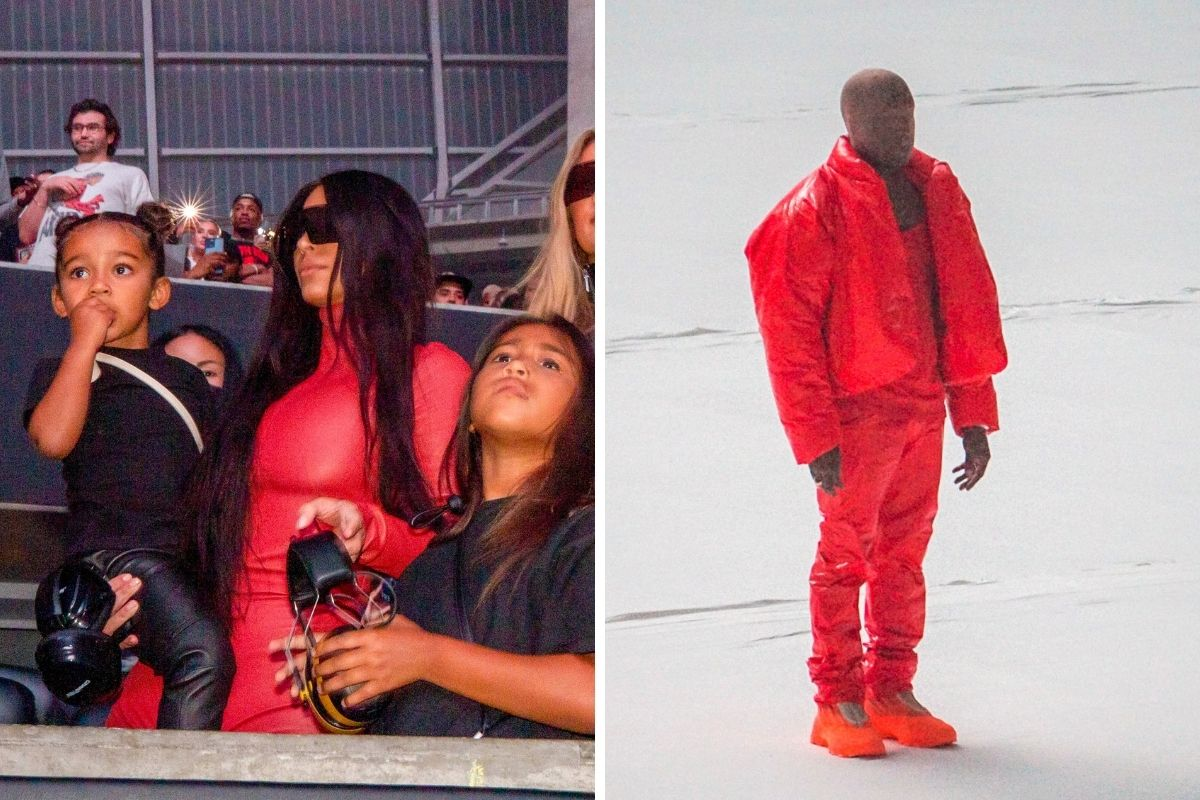 Kim Kardashian prestigia evento de Kanye West com os filhos