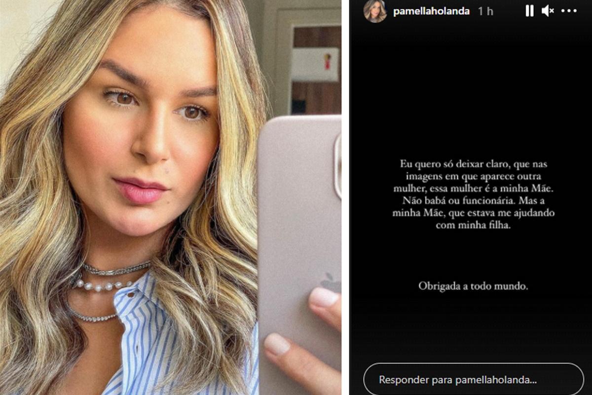Pamella Holanda segurando um celular fotomontagem com post escrito por ela