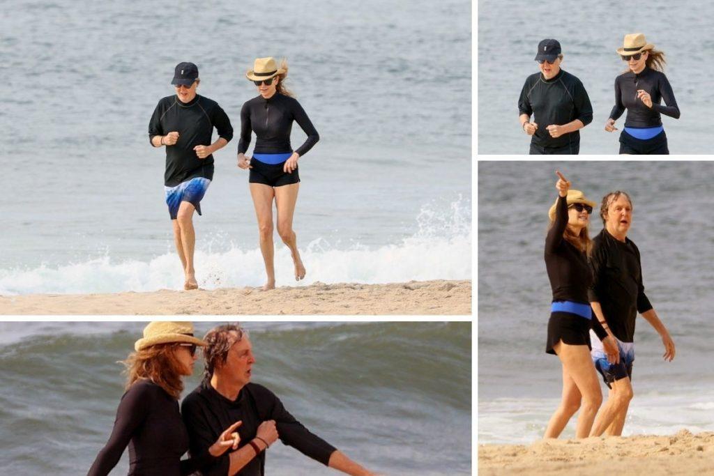 Paul McCartney corre na praia com sua mulher Nancy