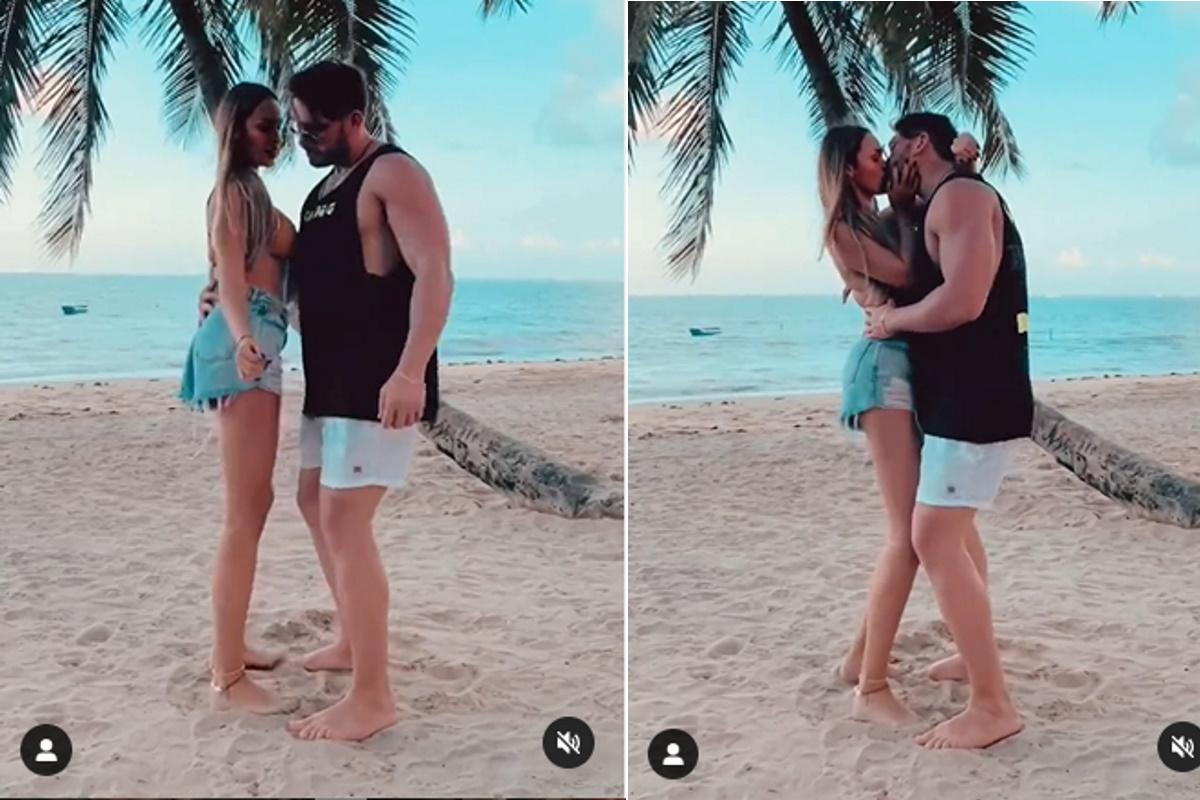 Sarah Andrade beija Lucas Viana
