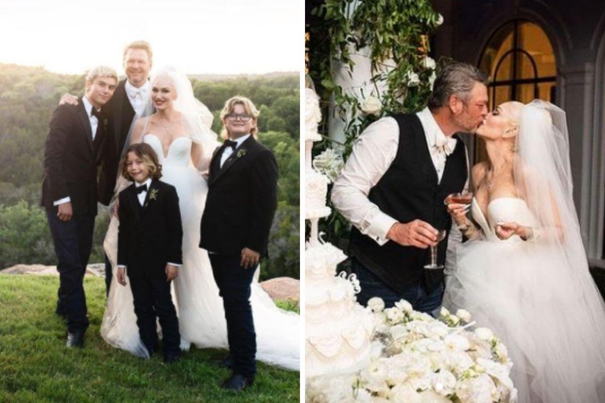 Gwen Stefani com Blake Shelton e os três filhos em seu casamento